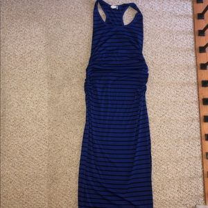Racerback blue and black stripe maternity maxi